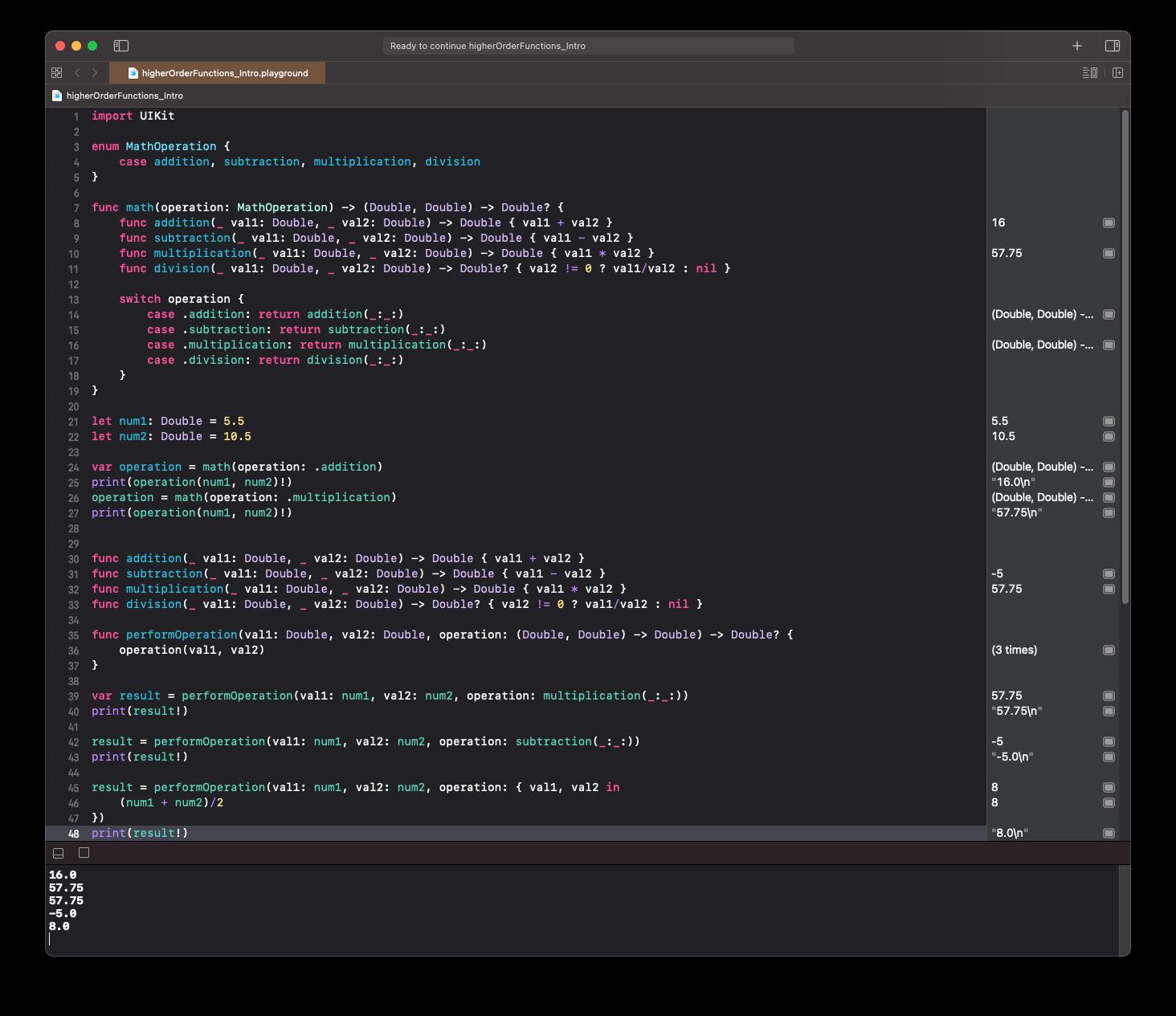 Demo code in Xcode playground