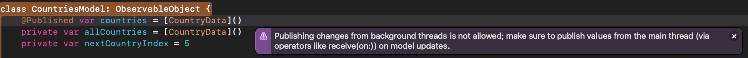 Xcode warning message saying that publishing changes from a background thread.