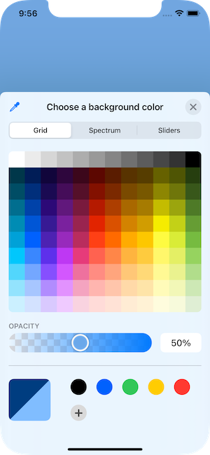 Presented color picker showing grid view.