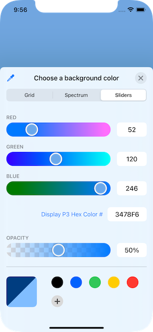 Presented color picker showing color sliders.