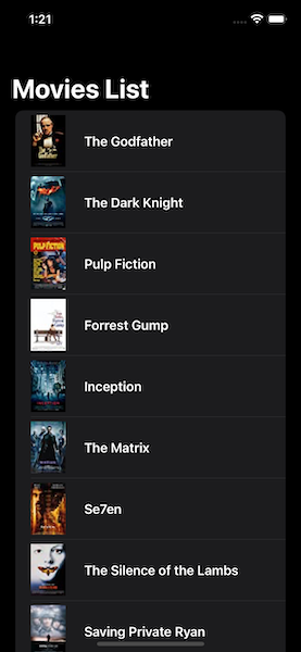 A list of movies with movie image and title