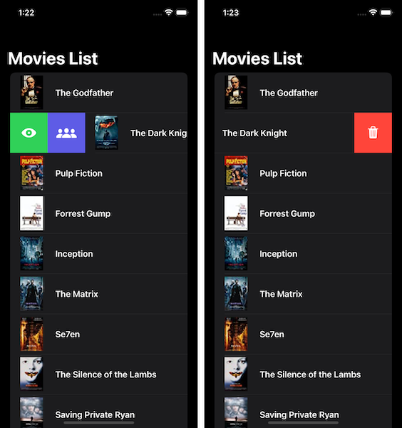 Two screenshots of the movies list side by side demonstrating the swipe actions.