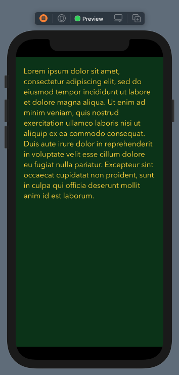 Text editor with fixed background color